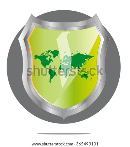 Illustration of green world map in grey shield - stock photo
