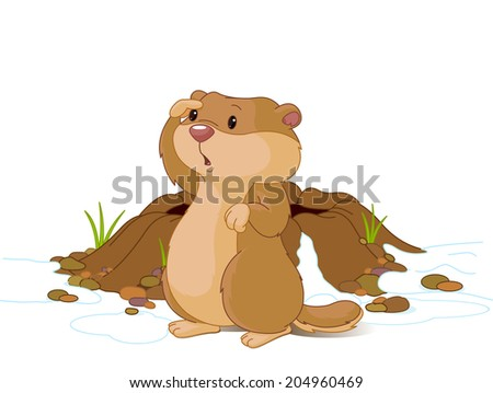 Illustration of groundhog near bunk looks into the distance. - stock photo