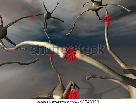 illustration of group of neurons with sinapsis in red color