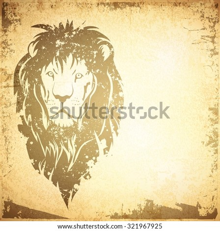 Illustration of Grunge Lion Vintage Background With Copyspace - stock photo