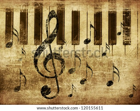 Illustration of grunge retro musical background with music notes and piano. - stock photo