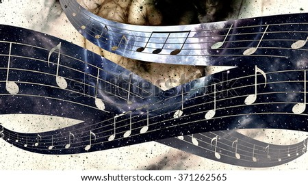 Illustration of grunge retro musical background with notes. - stock photo