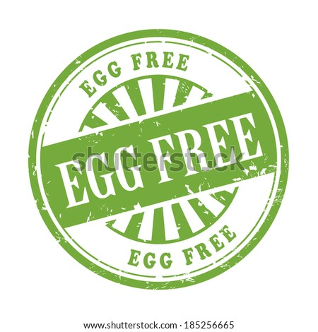 illustration of grunge rubber stamp with the text egg free written inside
