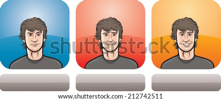 illustration of hairy guy face in three expressions: neutral, sad and happy - stock photo