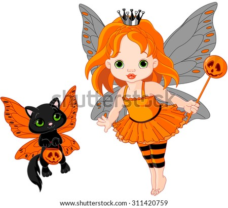 Illustration of Halloween baby fairy and her cat - stock photo