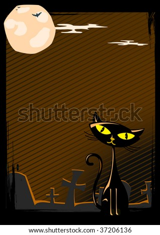 Illustration of Halloween cat on cemetery