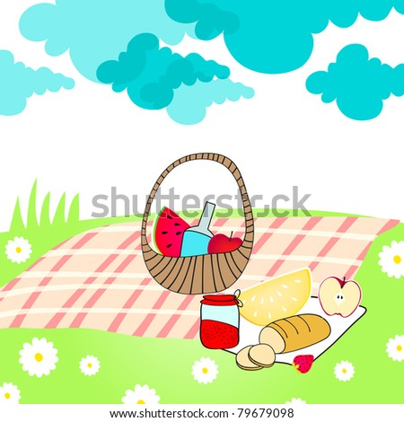 Illustration of hand drawn style, cute summer picnic basket on meadow - stock photo