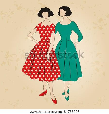 Illustration of hand drawn style elegant vintage fashion ladies - stock photo