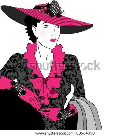 Illustration of hand drawn style elegant vintage fashion lady - stock photo