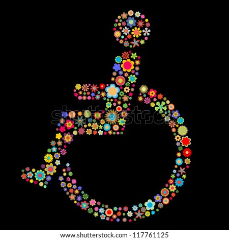 illustration of  handicap sign  shape  made up a lot of  multicolored small flowers on the black background - stock photo