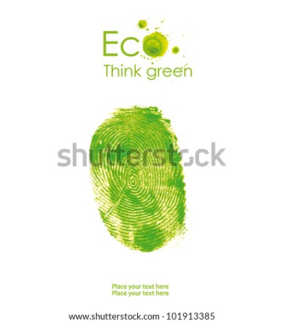 Illustration of handprint, isolated on white background. Think Green. Ecology Concept.