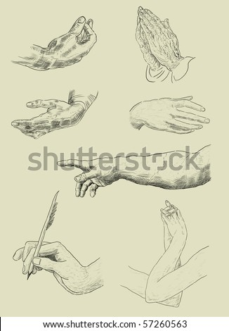 Illustration of hands - stock photo