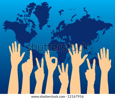 Illustration of hands held up, showing various supporting gestures, world map in the background. - stock photo