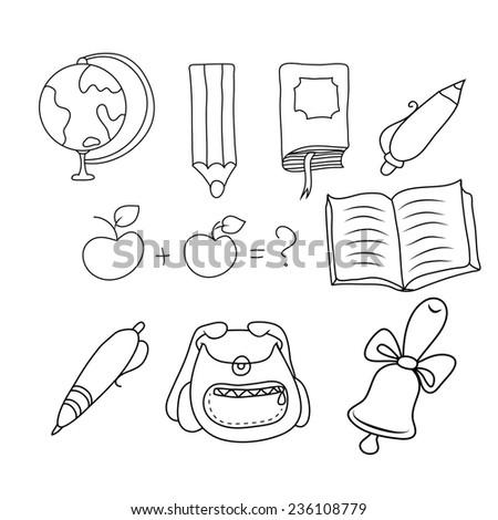 illustration of hands on school subjects - stock photo
