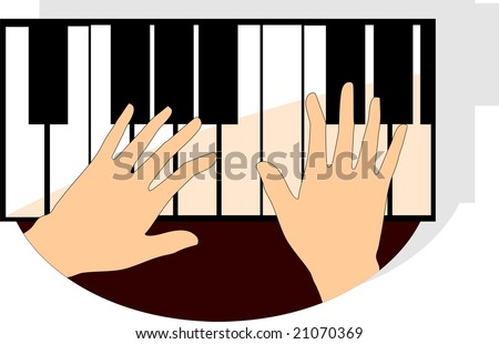 Illustration of hands playing piano buttons