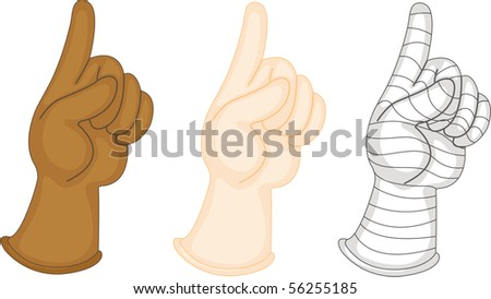 Illustration of Hands Showing Various Indications on white background