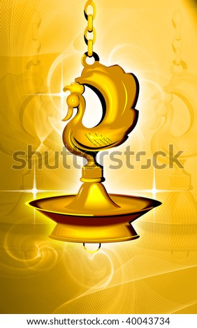 Illustration of hanging golden divine lamp  - stock photo