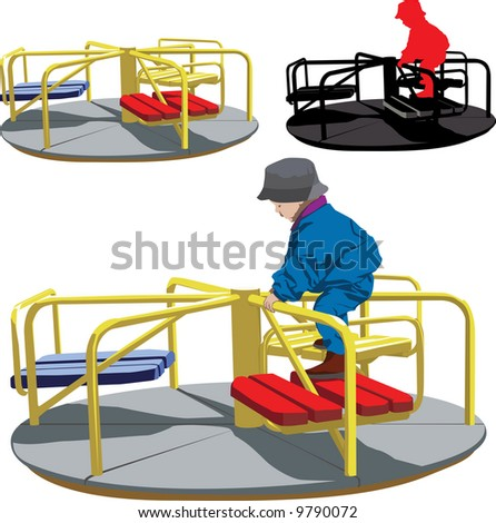 Illustration of Happy boy on the carousel - stock photo