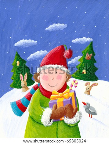 Illustration of happy boy with Christmas gift box - stock photo
