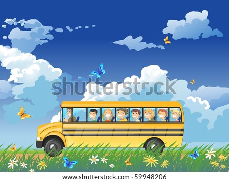 Illustration of happy children looking out the windows of a yellow school bus. - stock photo