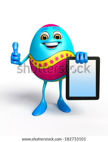 Illustration of Happy Easter Egg with ipad