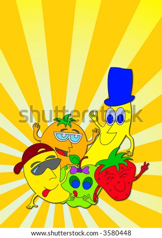 Illustration of happy fruit characters with clipping path