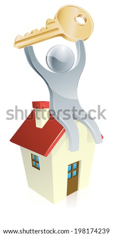 Illustration of happy silver mascot man sitting on a house with a house key in his hands. Real estate concept - stock photo