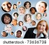 illustration of happy young businesswoman with her social network of friends and clients. - stock photo