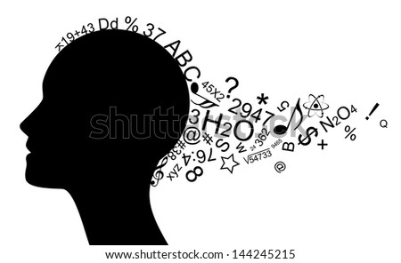 Illustration of head with a lot of information - stock photo