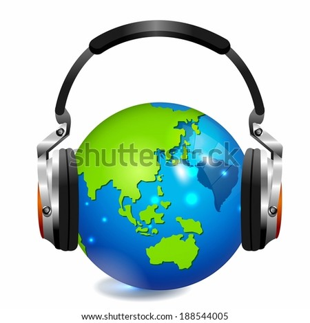 Illustration of headphones and globe