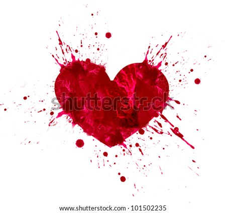 Illustration of heart in love. Hand drawn design from watercolor splash stains, isolated on white background - stock photo