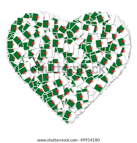 Illustration of heart made from flags of Algeria