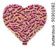Illustration of heart made from flags of Armenia - stock photo