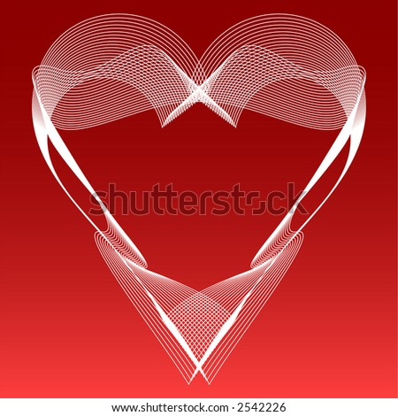 Illustration of heart-shaped, flowing white lines against a red gradient background. - stock photo