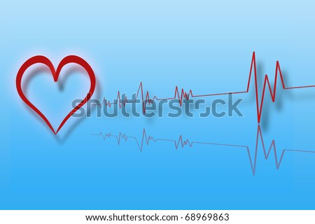 Illustration of heart with cardiology with blue background