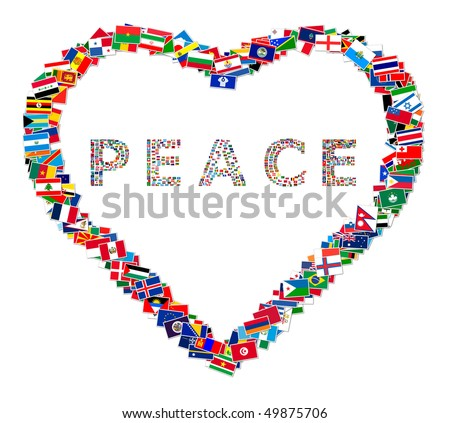 Illustration of heart with word PEACE inside, made from world flags, illustration - stock photo