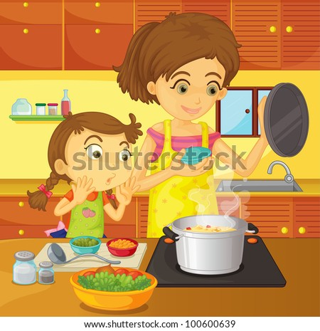 Illustration of helping at home concept - EPS VECTOR format also available in my portfolio. - stock photo