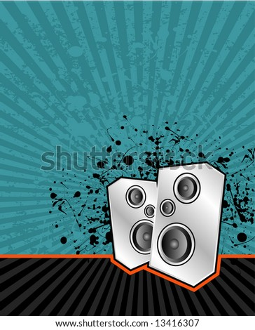 illustration of high powered speakers on an acid grunge background - stock photo