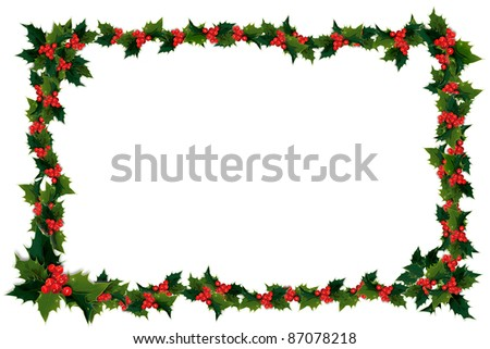 Illustration of holly leaves and berries in a frame - stock photo