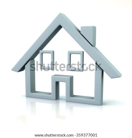Illustration of home isolated on white background - stock photo