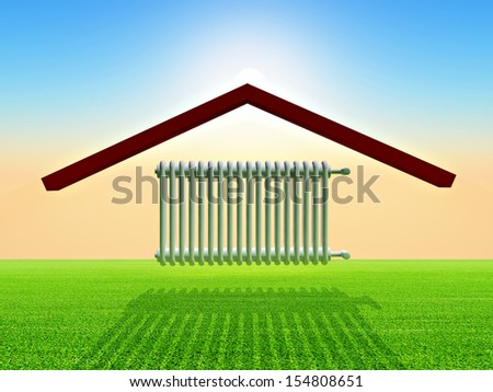 illustration of home warming - stock photo