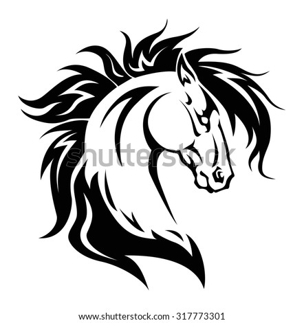 illustration of horse head tattoo isolated on white background