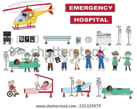 illustration of hospital icons isolated - stock photo