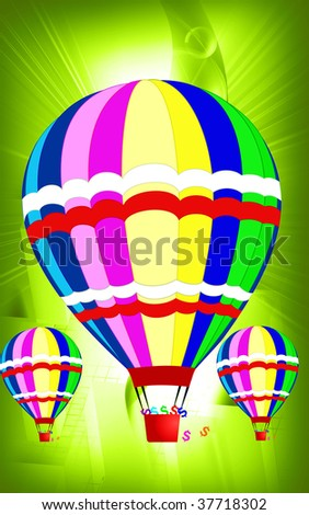 Illustration of hot air balloon landing with dollar