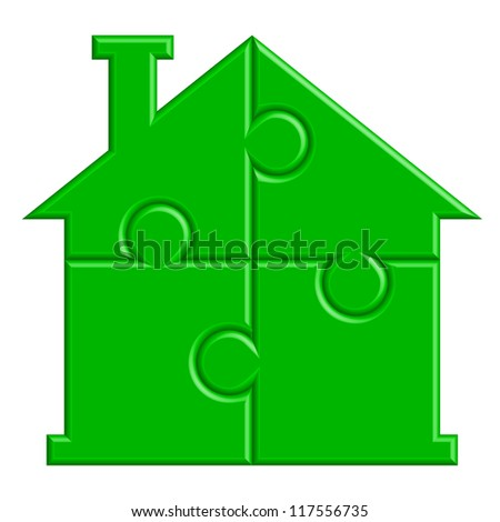 illustration of house from puzzle - stock photo