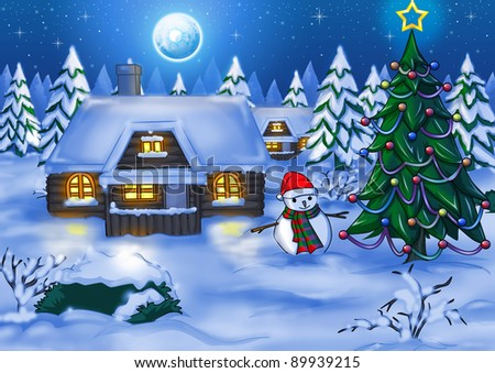 Illustration of houses at night time during winter