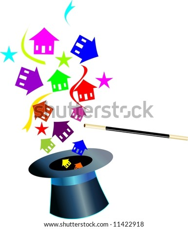 Illustration of houses coming out of a hat