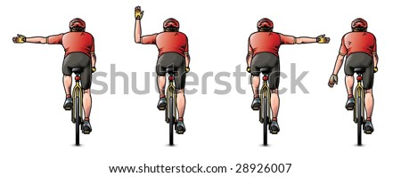 Illustration of how to signal your intentions when cycling