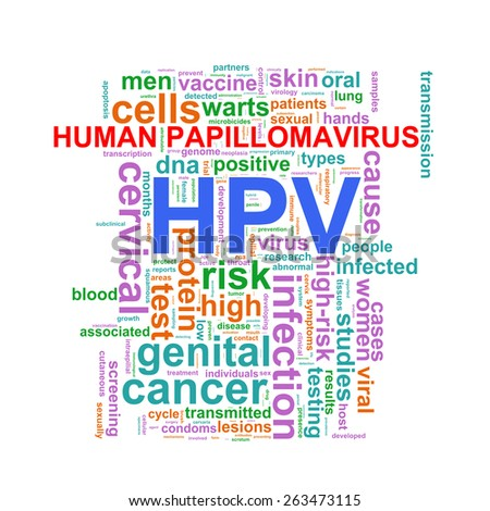 Illustration of hpv human papillomavirus wordcloud word tags - stock photo