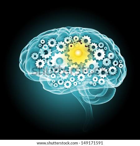 Illustration of human brain with cogwheel mechanisms - stock photo